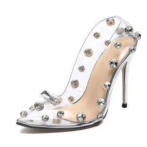 Rivet Crystal High Heeled Pumps