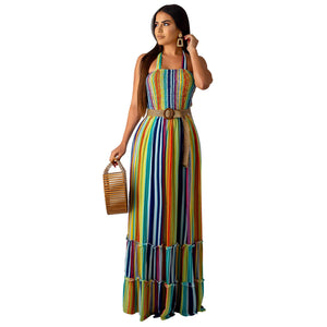 Rainbow Stripes Halter Maxi