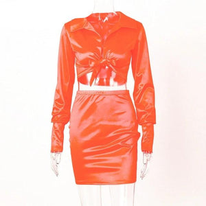 Satin Long Sleeve Bandage Skirt Set