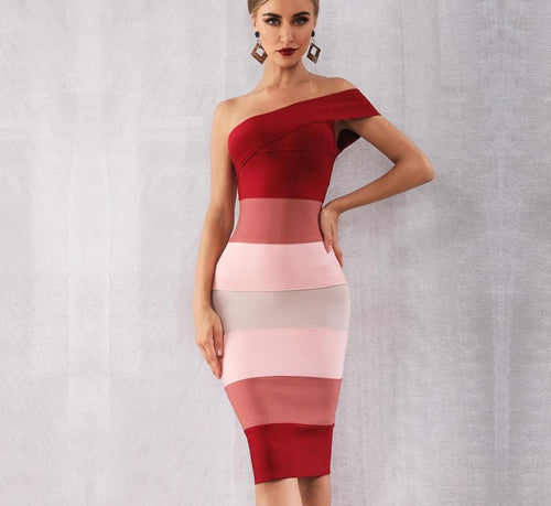 One Shoulder Sleeveless Midi Club Dress