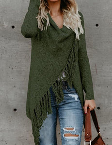 Women Long Fringed Knitted Sweater
