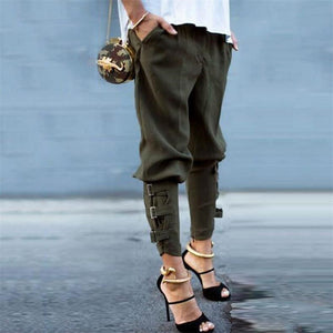 Vintage Harem Military Army Green Pants