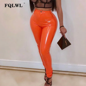 Latex Faux  Leather High Waist  Pants