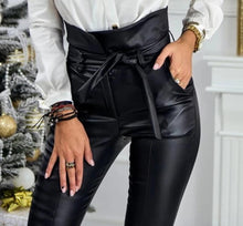 Load image into Gallery viewer, High Waist Pencil Faux Leather Pants