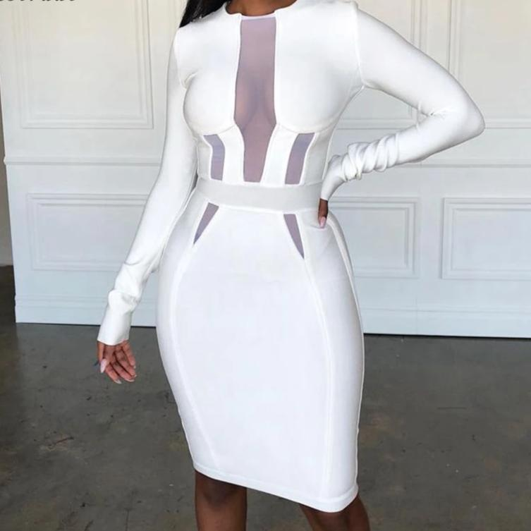 Sexy White Bandage  Bodycon Dress