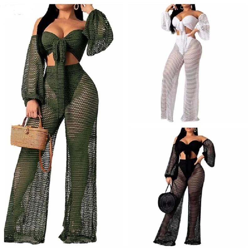 Sexy 2 Piece Off shoulder Top+Beach pants