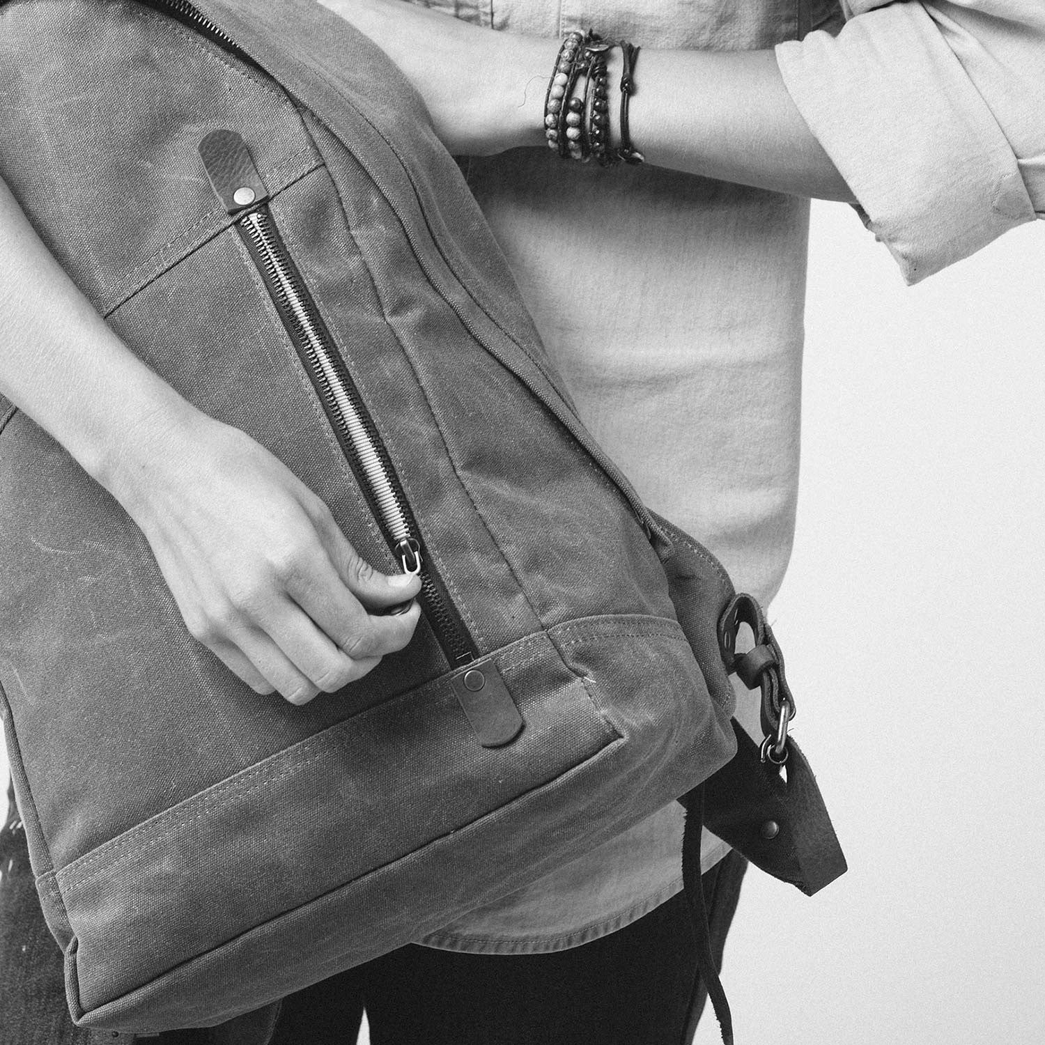 The Book Bag  Waxed Canvas Backpack