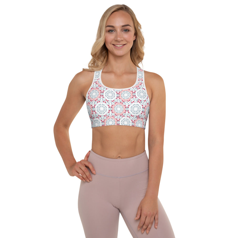 Roses Mandala Padded Sports Bra - 8 Petals Apparel