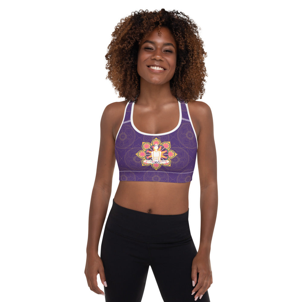 Purple Zen Padded Sports Bra - 8 Petals Apparel