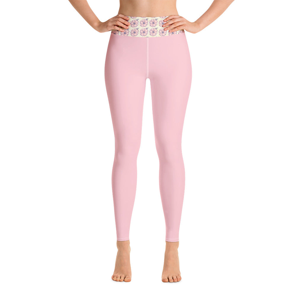 Pink Flower Yoga Leggings - 8 Petals Apparel