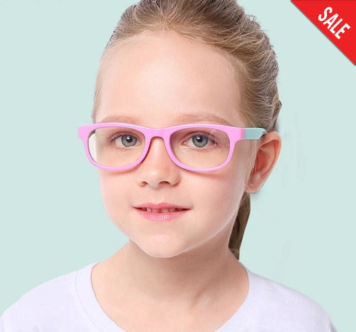 Childrens Protection Anti Blue Light Flexible Glasses Pink Cyan Blue Accessories