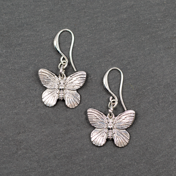 Butterfly Charm Earrings in Silver Plate