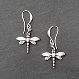 Silver Plate Dragonfly Charm Earrings