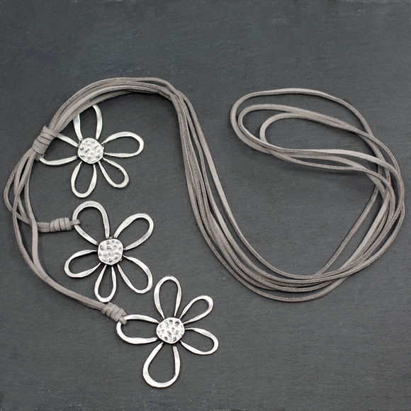 Silver Plate Triple Flower Necklace on Suede