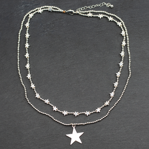 Silver Plate Double Strand Star Charm Necklace