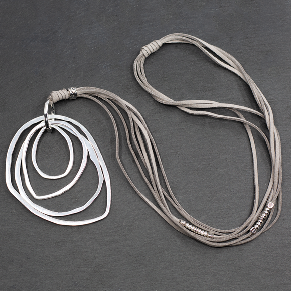 Suede Necklace With 4-Ring Pendant In Silver Plate