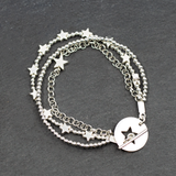 Silver Plate Multi Strand Star Charm Bracelet With T-Bar Clasp