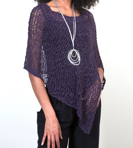 Short Popcorn Knit Poncho