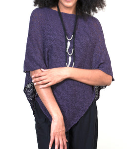 Purple Popcorn Double Knit Poncho