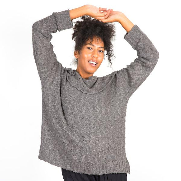Popcorn Knit Sweater - Grey - Flamingo Boutique
