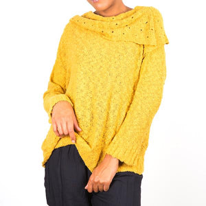 Popcorn Knit Sweater - Mustard - Flamingo Boutique