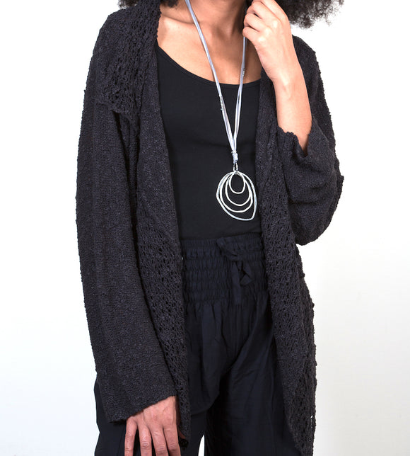 Popcorn Knit Cardigan - Black