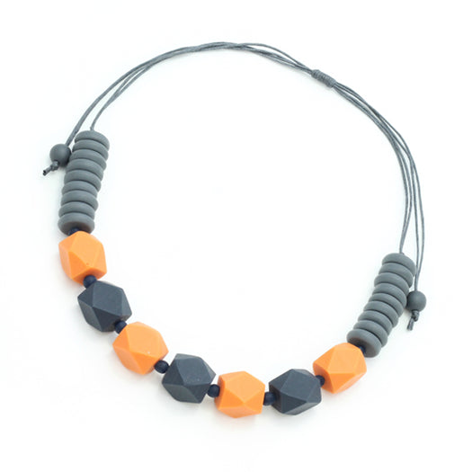 Orange & Grey Resin Necklace