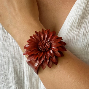 Red Leather Flower Cuff
