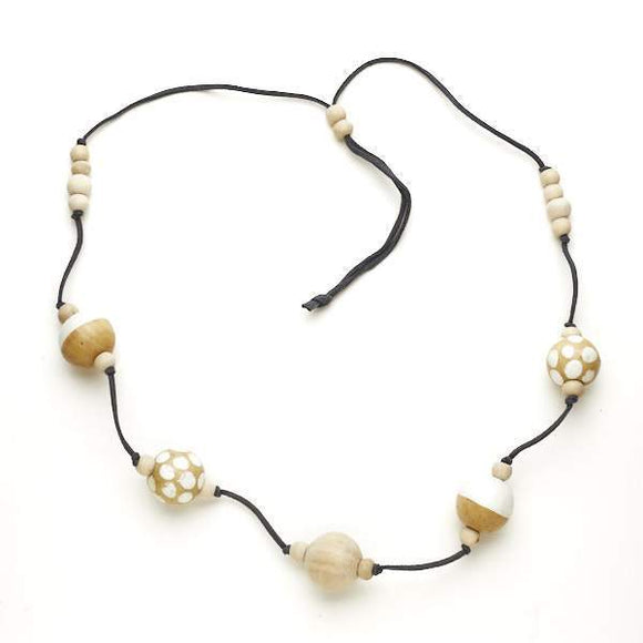 Spotty Long Wooden Ball Necklace