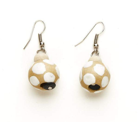 Wooden Ball Earrings - Flamingo Boutique
