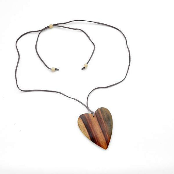 Simple Wooden Heart Necklace