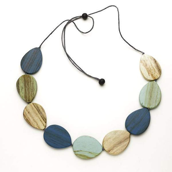 Wooden Teardrop Pebble Necklace - Flamingo Boutique