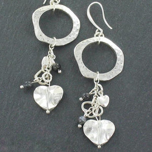 Beaten Ring With Heart Charms Earrings In Silver Plate - Flamingo Boutique