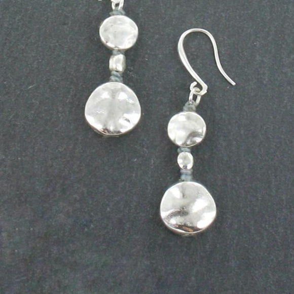 Double Beaten Disc Earrings In Silver Plate - Flamingo Boutique