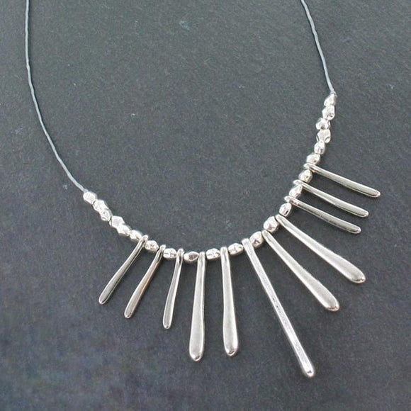 Drop Fan Necklace In Silver Plate - Flamingo Boutique