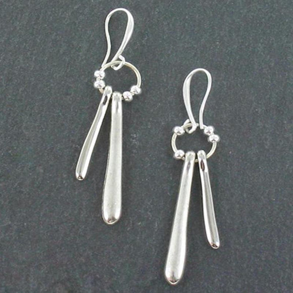 Double Drop Earrings In Silver Plate