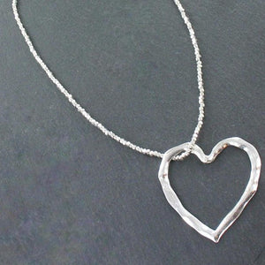 Open Heart Necklace In Silver Plate - Flamingo Boutique
