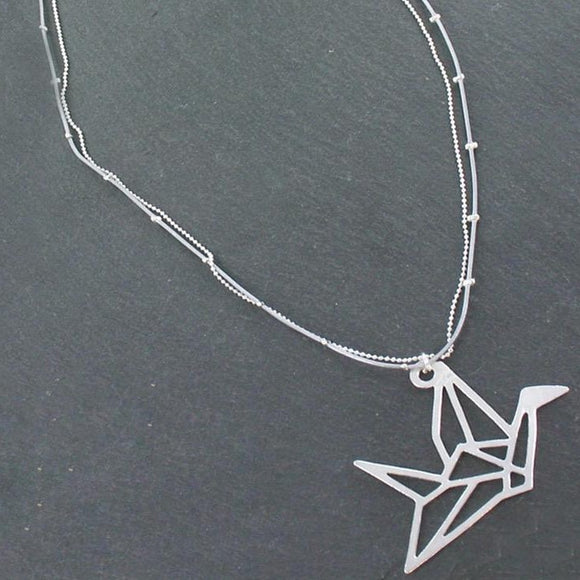 Double Strand Necklace With Origami Bird Pendant In Silver Plate - Flamingo Boutique