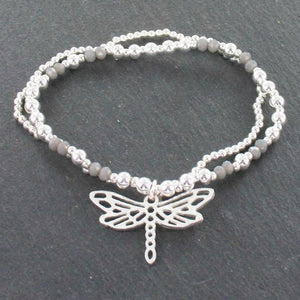 Double Strand Bracelet With Dragonfly Pendant In Silver Plate - Flamingo Boutique