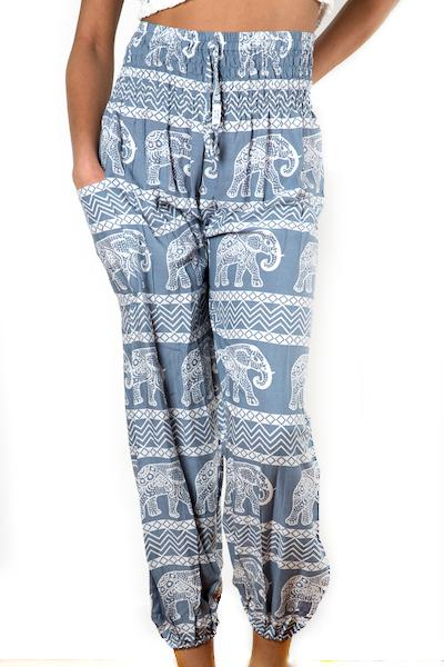 Grey & White Elephant Print Bali Pants - Flamingo Boutique