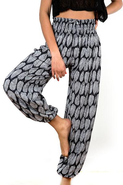Black & White Leaf Print Bali Pants - Flamingo Boutique