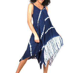 Blue Tie Dye Stripe Handkerchief Dress