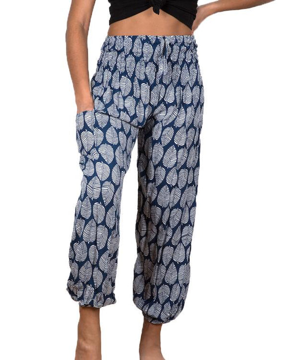 Blue & White Leaf Print Bali Pants - Flamingo Boutique