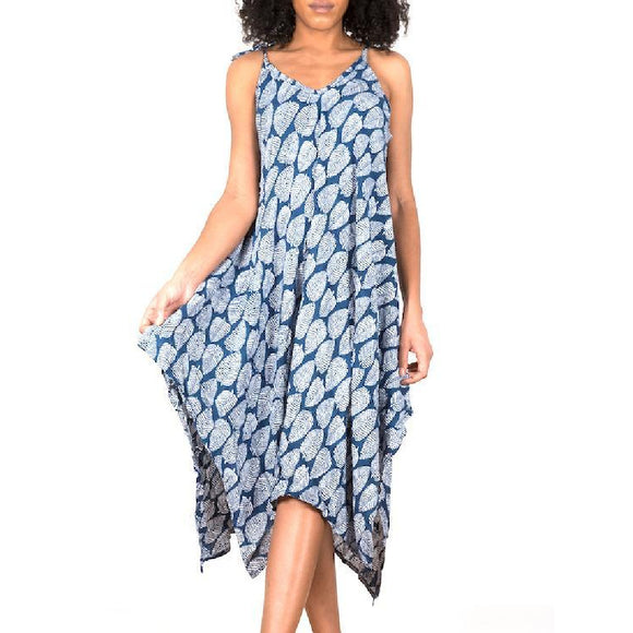 Blue Leaf Print Handkerchief Dress
