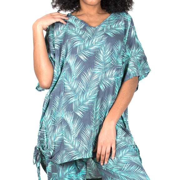 Cover Up Top In Mint & Grey Palm Leaf Print
