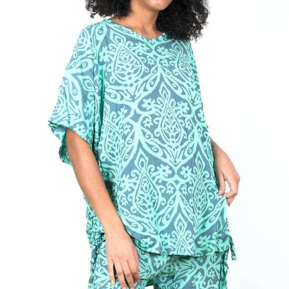 Cover Up Top In Mint Batik Print