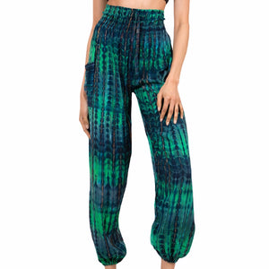 Green & Blue Tie Dye Bali Pants