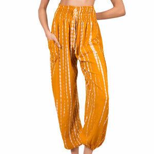 Yellow & White Tie Dye Bali Pants