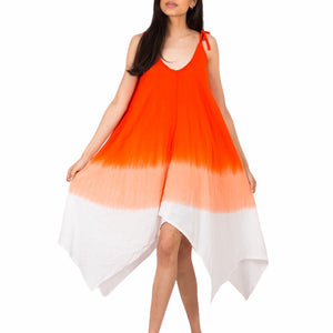 Orange Dip Dye Handkerchief Dress