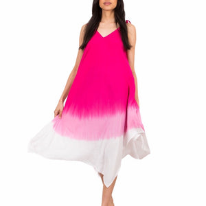 Pink Dip Dye Handkerchief Dress
